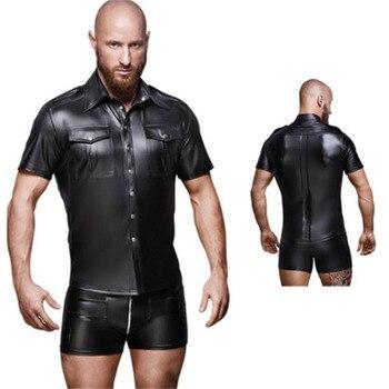 Men Undershirt Faux Leather Shirts Short Sleeve Cool Men Nightclub Stage Costumes Bar Club Wear Costume Shirts Undershirts 1