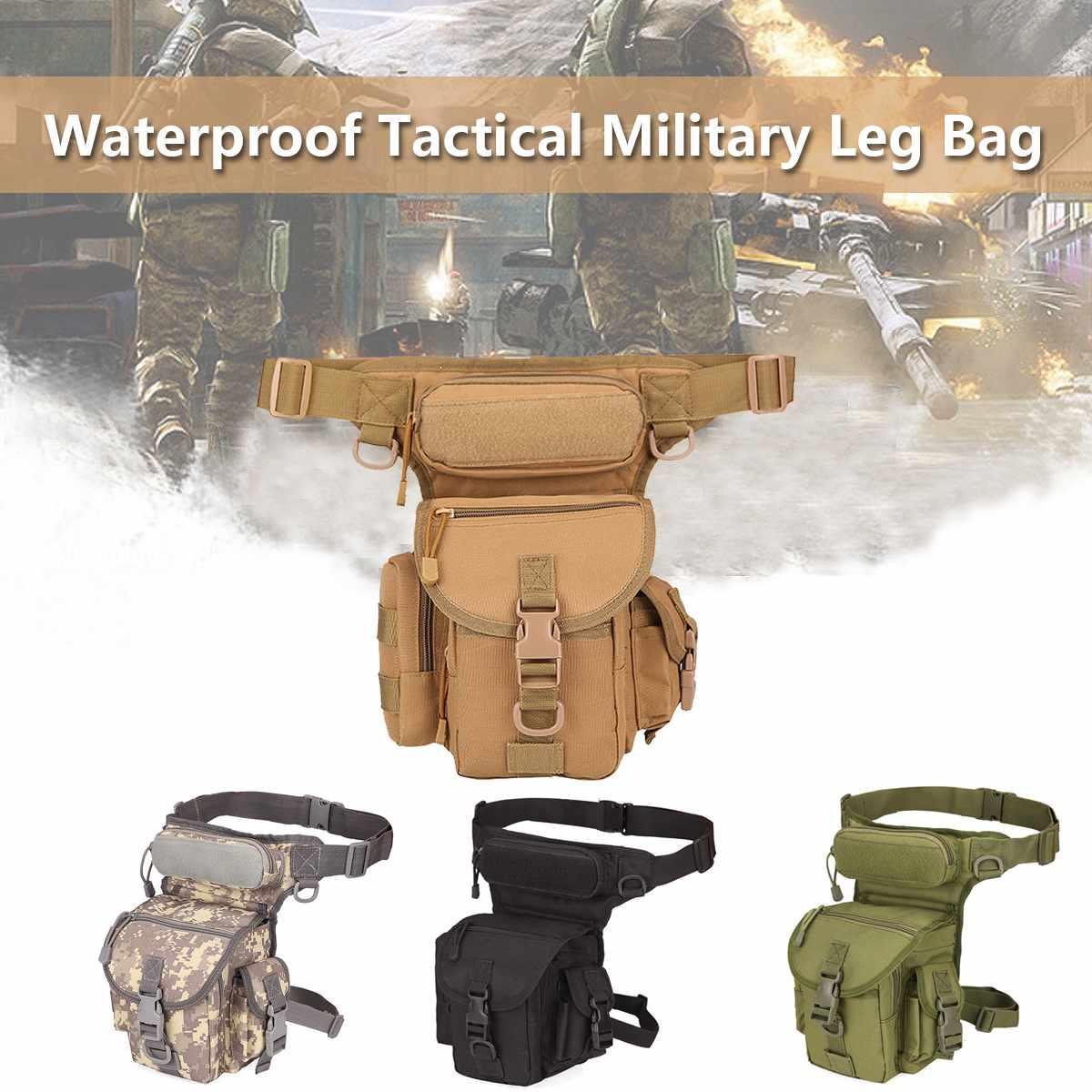 Military Tactical Drop Leg Bag Tool Fanny Thigh Pack Hunting Bag Waist Pack Motorcycle Riding Men 800D Military Waist Packs