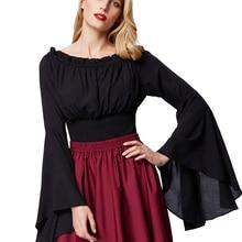 51a236683 Renascimento Medieval elegante fora do ombro da camisa Mulheres Retro  Vintage Gótico Vitoriano vestido de flare Mangas Smocked c.