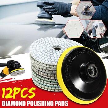 12pcs 4/100mm Abrasive Tools Wet/ Dry Diamond Polishing Pads