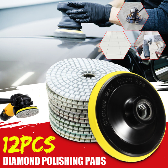 12pcs 4/100mm Abrasive Tools Wet/ Dry Diamond Polishing Pads Sanding Disc Grinder For Granite Stone Concrete Marble Polisher