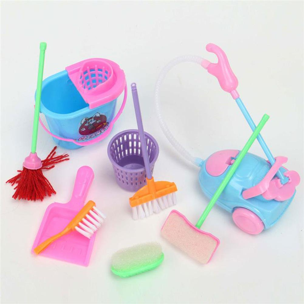 9 PCS Set Play House Toys Realistic Cleaning Toys Kitchen Accessories Broom And Mop Toy Dining Kitchen Home Pretend Toys