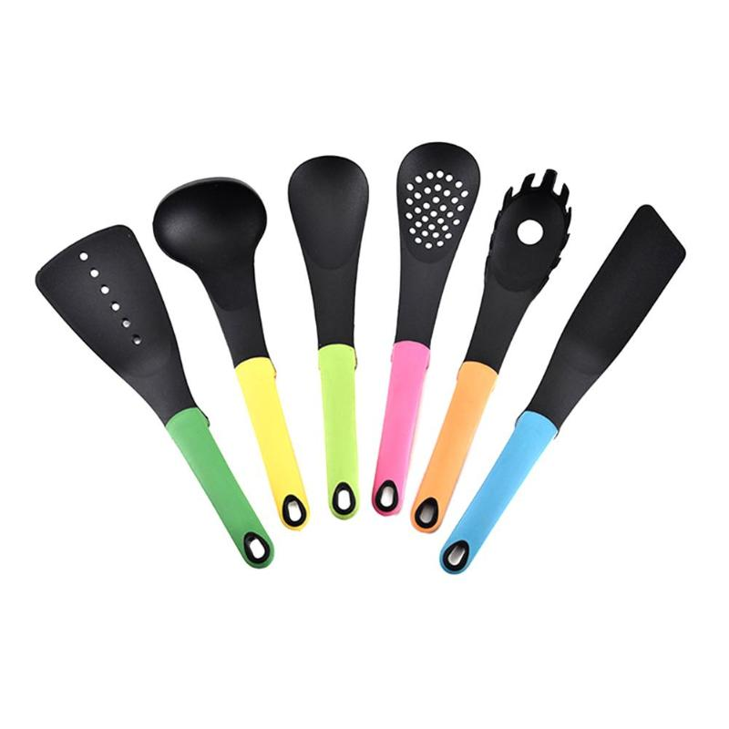 6pcs/set Nylon Kitchenware Heat Resistant Non-Stick Cooking Spatula Spoon Shovel Kitchen Utensils Cooking Tools Kitchen Tools