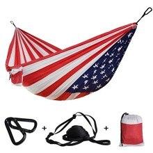 """1 2 คน Outdoor Camping Hammock US FLAG การพิมพ์ผ้าร่มชูชีพ Sleeping Hamak Hamac Independence Day 106 """"* 55"""""""