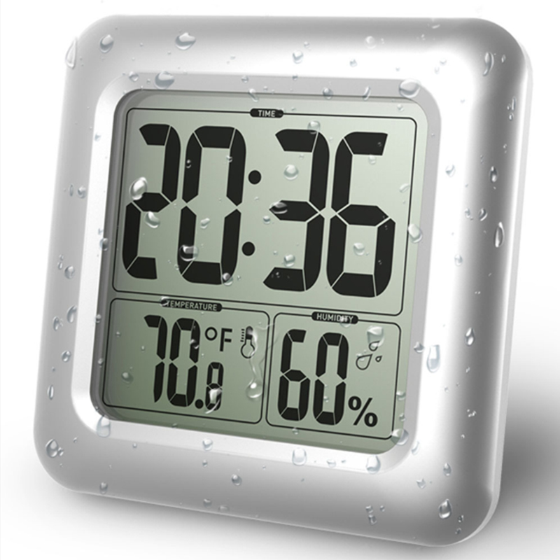 LCD Watch With Temperature And Humidity Meter Bathroom / Kitchen Waterproof With Suction Cup