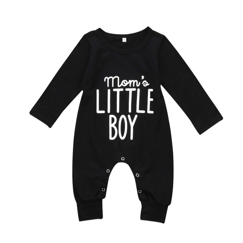 Newborn Toddler Baby Boys Long Sleeve   Rompers   Mom's Little Boy Letter Print Infant Boys Jumpsuit Playsuit Baby Boys Clothing
