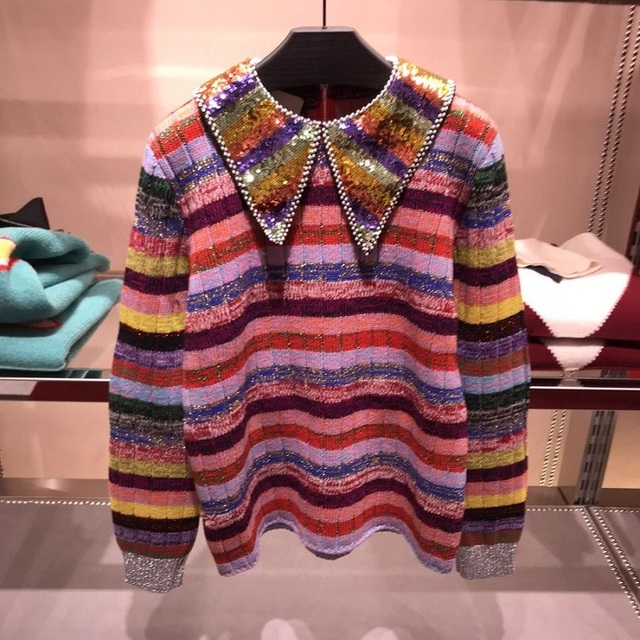 2020 Winter Luxury Rainbow Sequins Neck Women Sweater Pullovers Runway Designer Striped Female Christmas Sweaters Jumper Clothes
