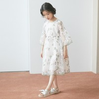 Teenage Girls Summer Dresses Floral Kids Clothes 2019 Spring Little Girl Party Dress Lace Embriodered Flare Sleeve Formal