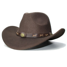 8c2ca257f6db3 Vintage chico niño 100% lana de ala ancha vaquero occidental vaquera  sombrero Fedora Cap café