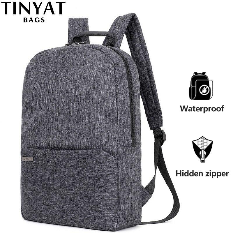 TINYAT Men Laptop Backpack For 15 ''Computer Mochila Escloar Waterproof School Backpack Bag For Teenage Canvas Shoulder Backpack