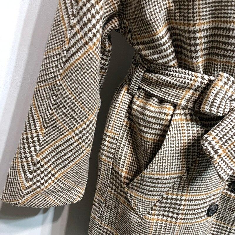 eam Manches Jk613 Bandage Taille Plaid Parkas Imprimé Femmes Kaki Laine Grande Revers Khaki 2019 Manteau Printemps Nouveau Mode De Longues À qnXrqCH