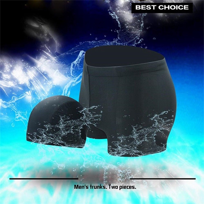 Men Boxer Briefs Swimming Shorts Trunks Cap Quick Drying Bathing Cap Swimwear Pants Underwear