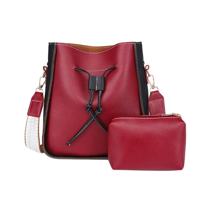 2Pcs/Set Retro Women Leather Shoulder Bags Totes Messenger Bucket Clutch Casual Crossbody Bags Bolsa Feminina