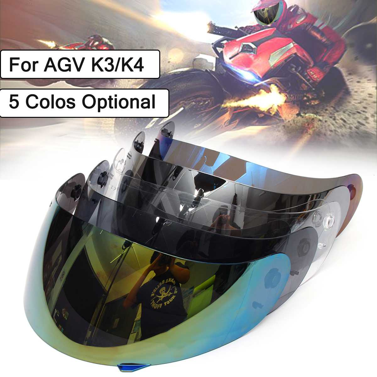 Full Face Schild Motorrad Helm Visier Objektiv Schild Für AGV K3 K4 Motocross Helm Motorrad Helme Sonnenblende