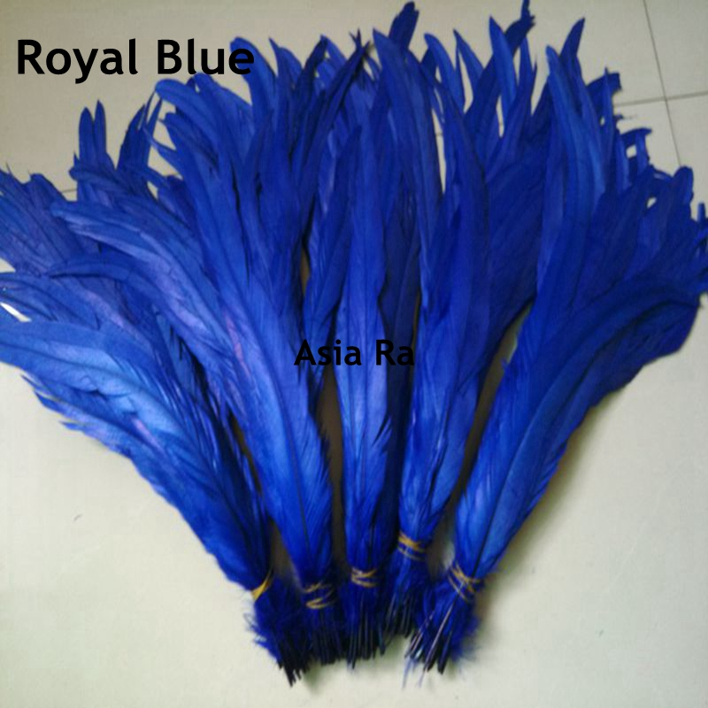 500pcs Royal Blue 35-40cm 14-16inch Colourful Cock Tail Feathers for Sales 15 colors can be choosed