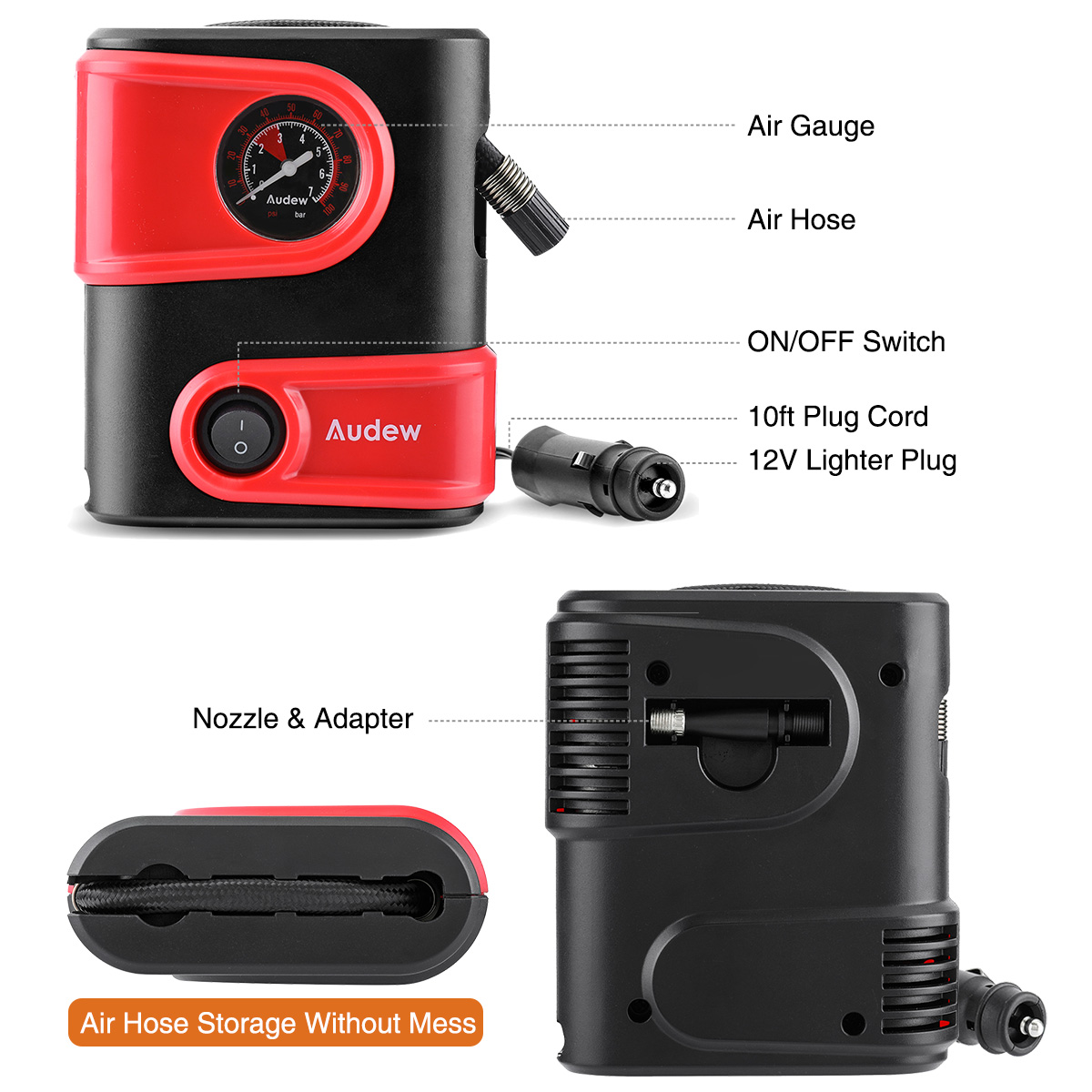 Image 3 - Car Air Compressor Inflatable Pump 12V DC 100PSI Outlet Compact Portable Auto Tire Pump Inflator for Car Bicycles Motorcycles-in Inflatable Pump from Automobiles & Motorcycles