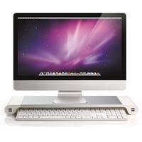 EU Plug Aluminum Alloy Monitor Stand Space Bar Dock Desk Riser with 4 USB Ports for iMac MacBook Computer Laptop Gadgets