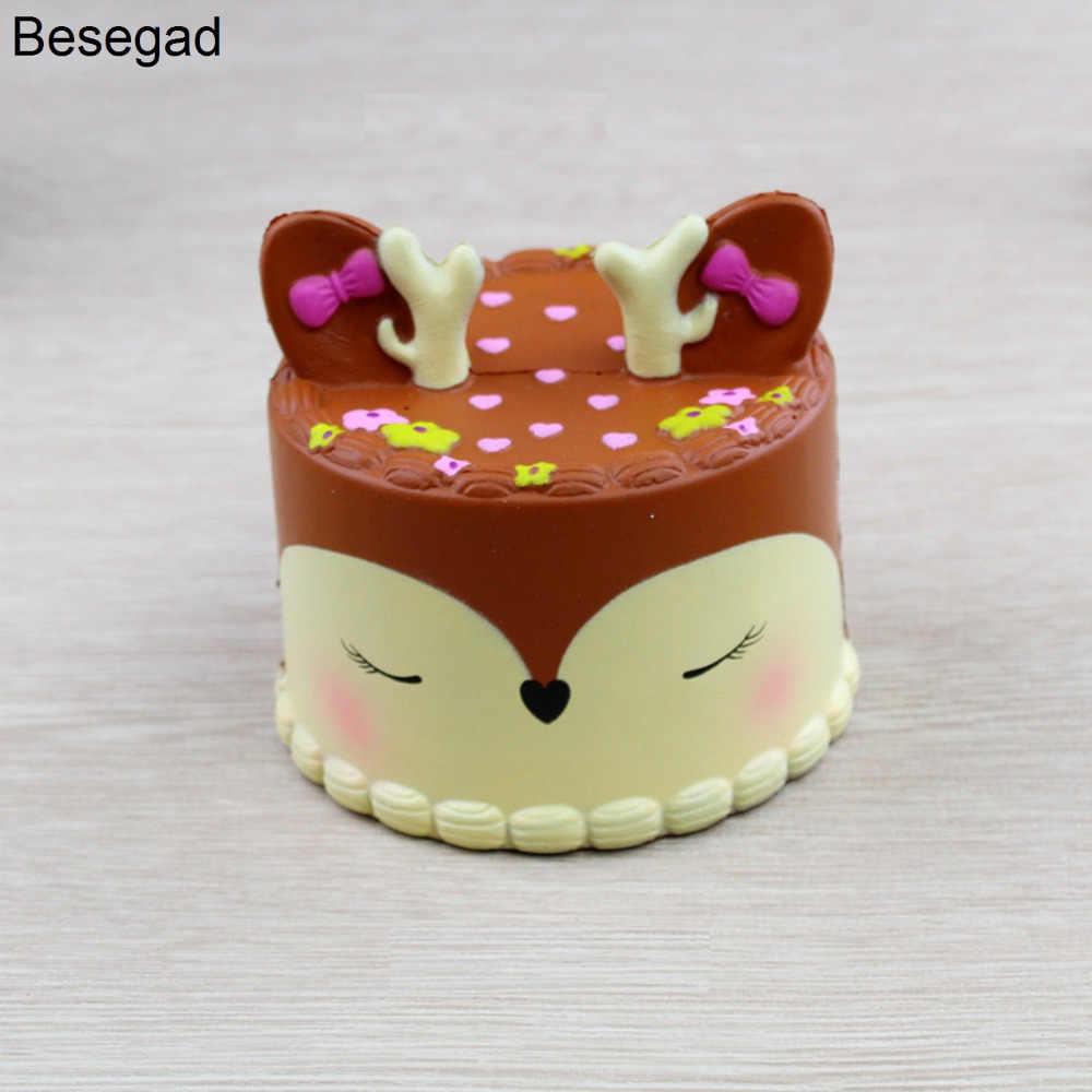 Besegad 9,5 см большой каваи милый олень торт хлеб мягкий при нажатии сквоши пищащая игрушка медленно поднимается для снятия стресс беспокойство
