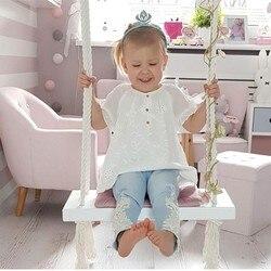 Деревянные качели в скандинавском стиле для улицы, сада, спальни, детские качели, цельное деревянное кресло с подушкой, безопасное украшени...