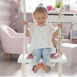 Nordic stil holz schaukel outdoor garten schlafzimmer kinder schaukel massivholz sitz mit kissen sicherheit baby zimmer dekoration Verkauf
