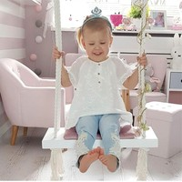 Nordic style wooden swing outdoor garden bedroom children's swing solid wood seat with cushion safety baby room decoration Sale