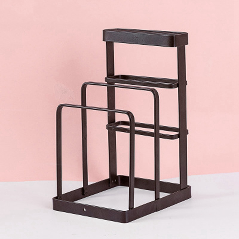 Image 5 - Wrought Iron Kitchen Tool Knife Storage Rack Drain Rack Kitchen Cutting Board Storage Rack Vertical Tool Holder-in Racks & Holders from Home & Garden