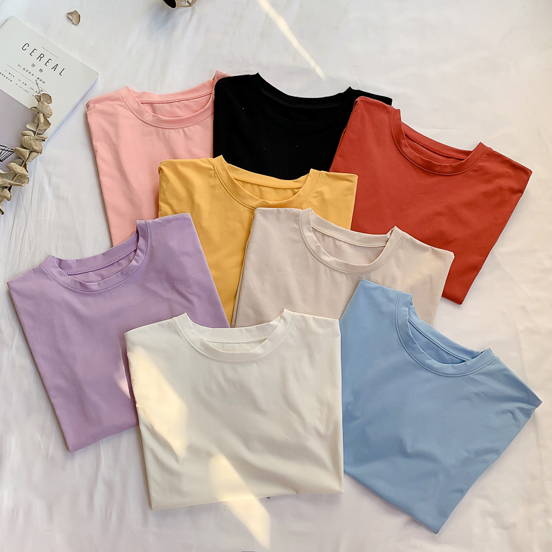 NIJIUDING Solid Color Women Basic T-shirt Casual O-neck Tee Shirt Harajuku Summer Top Korean Hipster White T Shirt Dropshipping