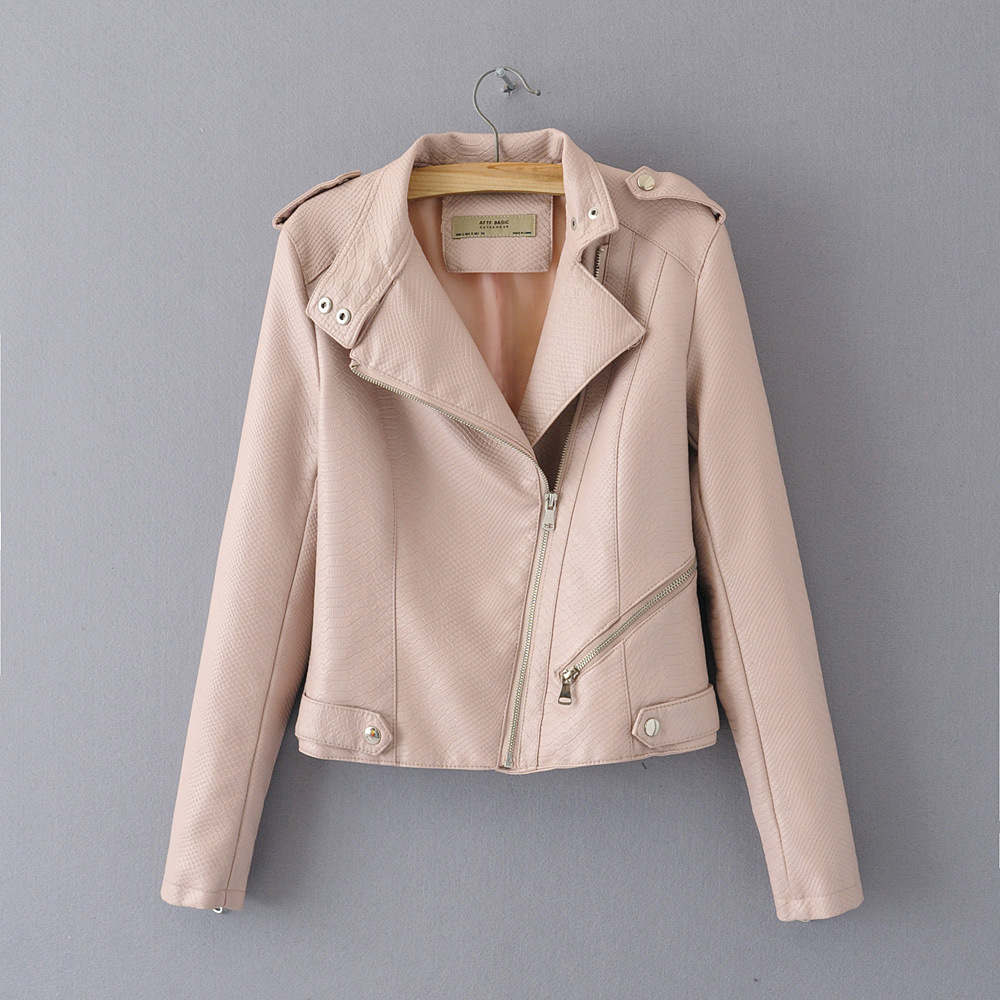 2019 Spring New Europe Dark Pattern Short Paragraph   Leather   Fashion Solid Color PU   Leather   Jacket Coat Female