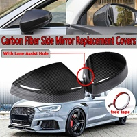 A Pair Real Carbon Fiber Add on Car Side Mirror Covers For Audi A3/S3/RS3 Models 2014 2018 With Lane Assist Option
