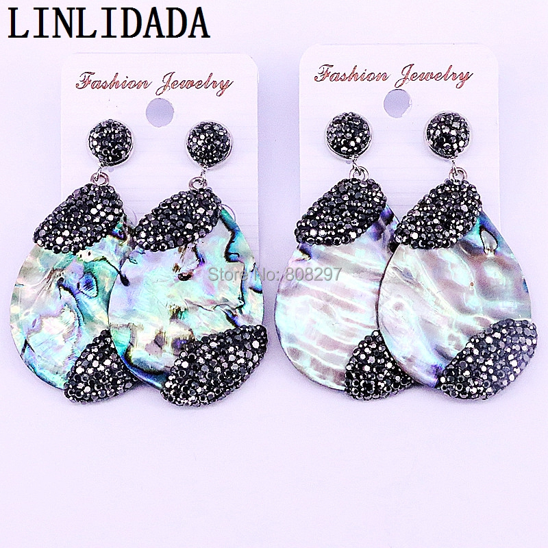 4Pair Black Zircon Paved Nature Abalone Shell Dangle Earrings Fashion Jewelry