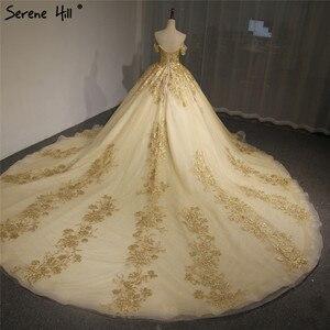 Image 4 - Dubaj wysokiej klasy krótkie rękawy luksusowa suknia ślubna w stylu Vintage Sexy Off ramię złota frezowanie cekinami panna młoda suknia 2020