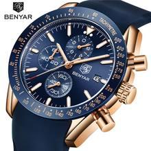 cf6b1011 BENYAR мужские часы лучший бренд класса люкс Хронограф военный Авиатор  Кварцевые аналоговые наручные часы для мужчин
