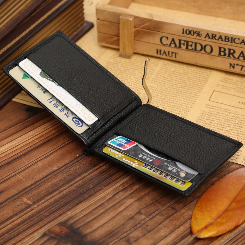Yüksek kalite moda erkekler katı ince mıknatıs çile Bifold para klip deri cüzdan kimlik kredi erkek çanta marka yeni para çantası erkek