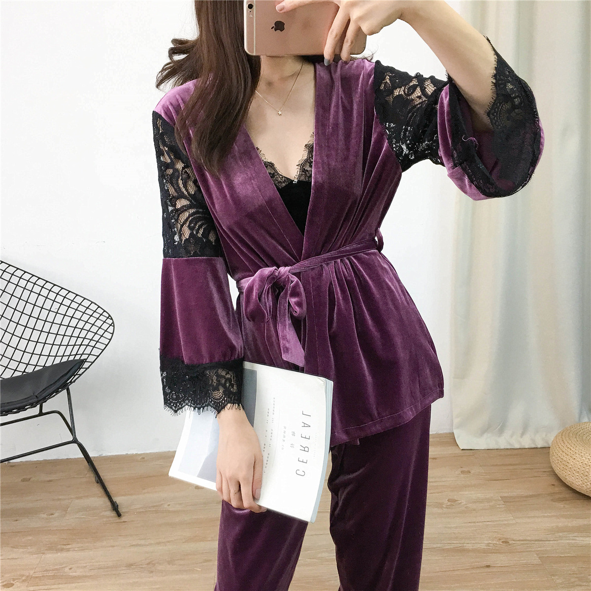 Lisacmvpnel 3 Pcs Gold Velvet Keep Warm Pajamas Lace Sexy Robe+Nightdress+Long Pant Set Pyjama For Women