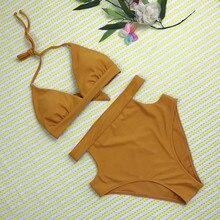 Black Yellow Bikini Set Brazilian Swimwear Women High Waist Swimsuits 2019 biquini maillot de bain femme