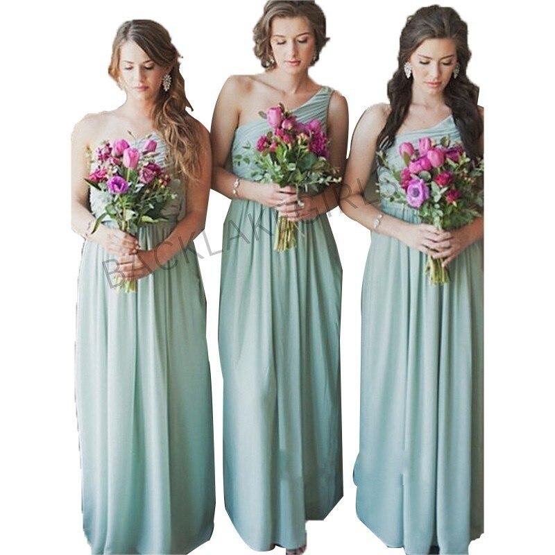 0c4f930fc0 US $121.6 5% OFF|Elegant A line Bridesmaid Dresses Long One Shoulder Mint  Green Chiffon Party Dress For Wedding-in Bridesmaid Dresses from Weddings &  ...