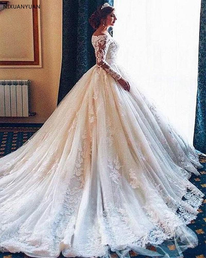 Vintage Arab Lace Long Sleeve Wedding Dress 2020 Luxury Cathedral Ball Gown Muslim Vestido De Noiva High Quality Bridal Gowns