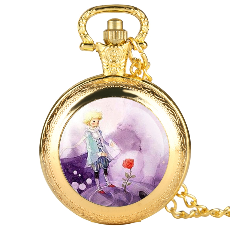 Fashion Silver Gold Bronze Little Prince Pocket Watch Rose Flower Fob Quartz Clock With Chain Necklace Pendant Gift For Children