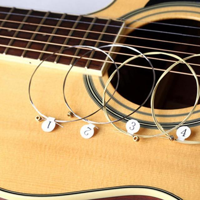 6pcs/set Universal Acoustic Guitar String Brass Hexagonal Steel Core Strings For Musical Instruments Guitars Strings Guitar Part 4