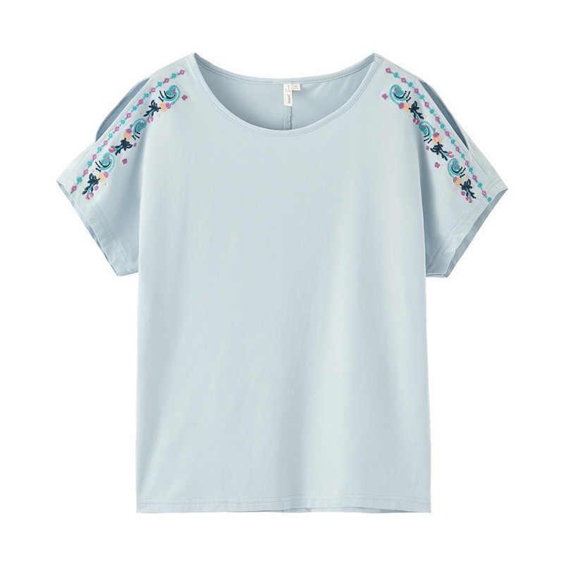 INMAN 2019 여름 여성 탑 새 도착 o-넥 자 수 짧은 Batwing 슬리브 캐주얼 여성 코 튼 t-셔츠