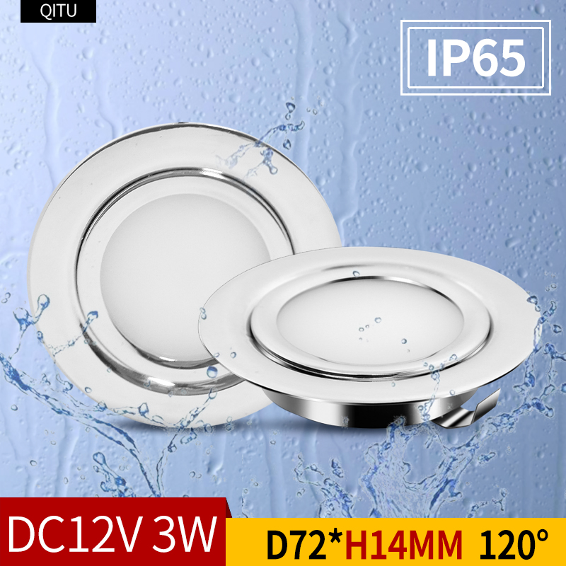 Refletor LED externo IP65 à prova d'água de aço inoxidável para banheiro doméstico, teto embutido mini downlight ultrafino 12V RV decoração de iate modificada luz de gabinete redonda embutida