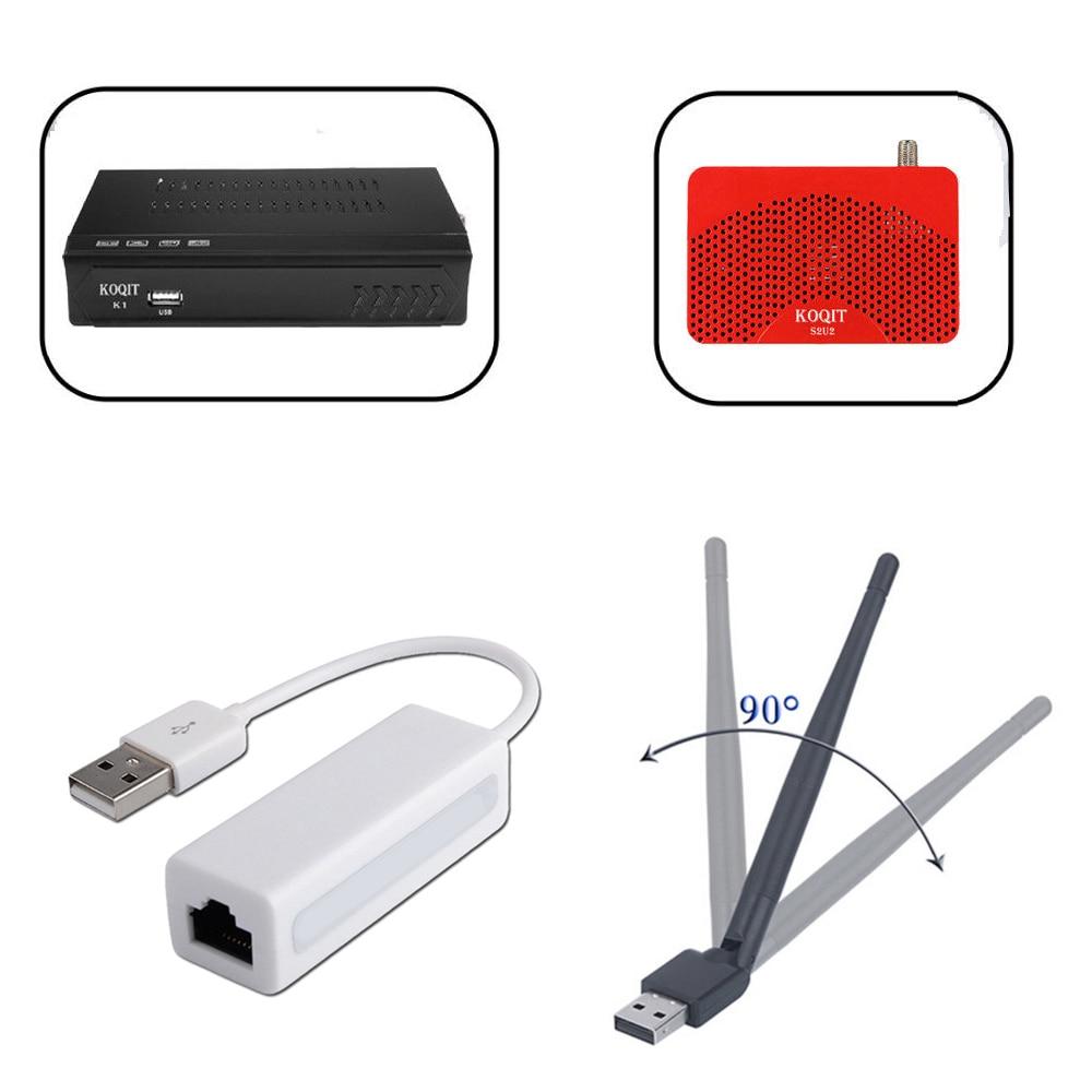 Wireless WiFi Cable USB To RJ45 Lan Ethernet Koqit K1 U2 Network Adapter DVB-S2 Satellite Receiver Youtube IPTV  Digital Tv Box
