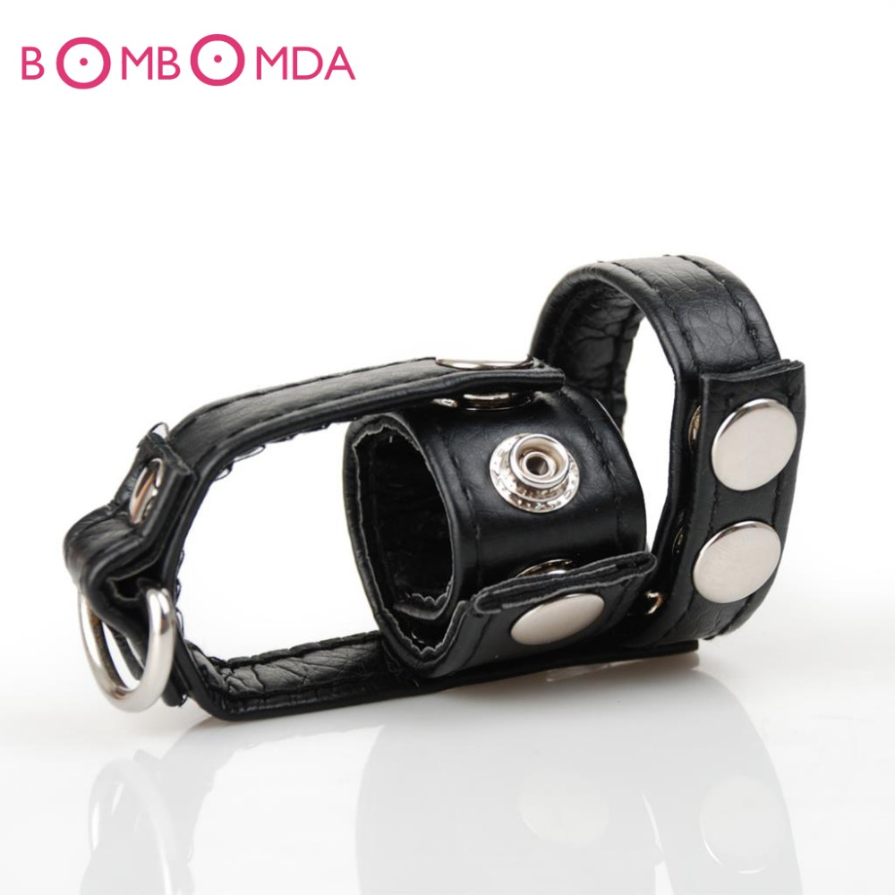 Leather Cockring Scrotum Bound Ball Stretcher Penis Lock Cock Cage Dildo Restraints Sex Toys For Men Sex Products O45 in Penis Rings from Beauty Health