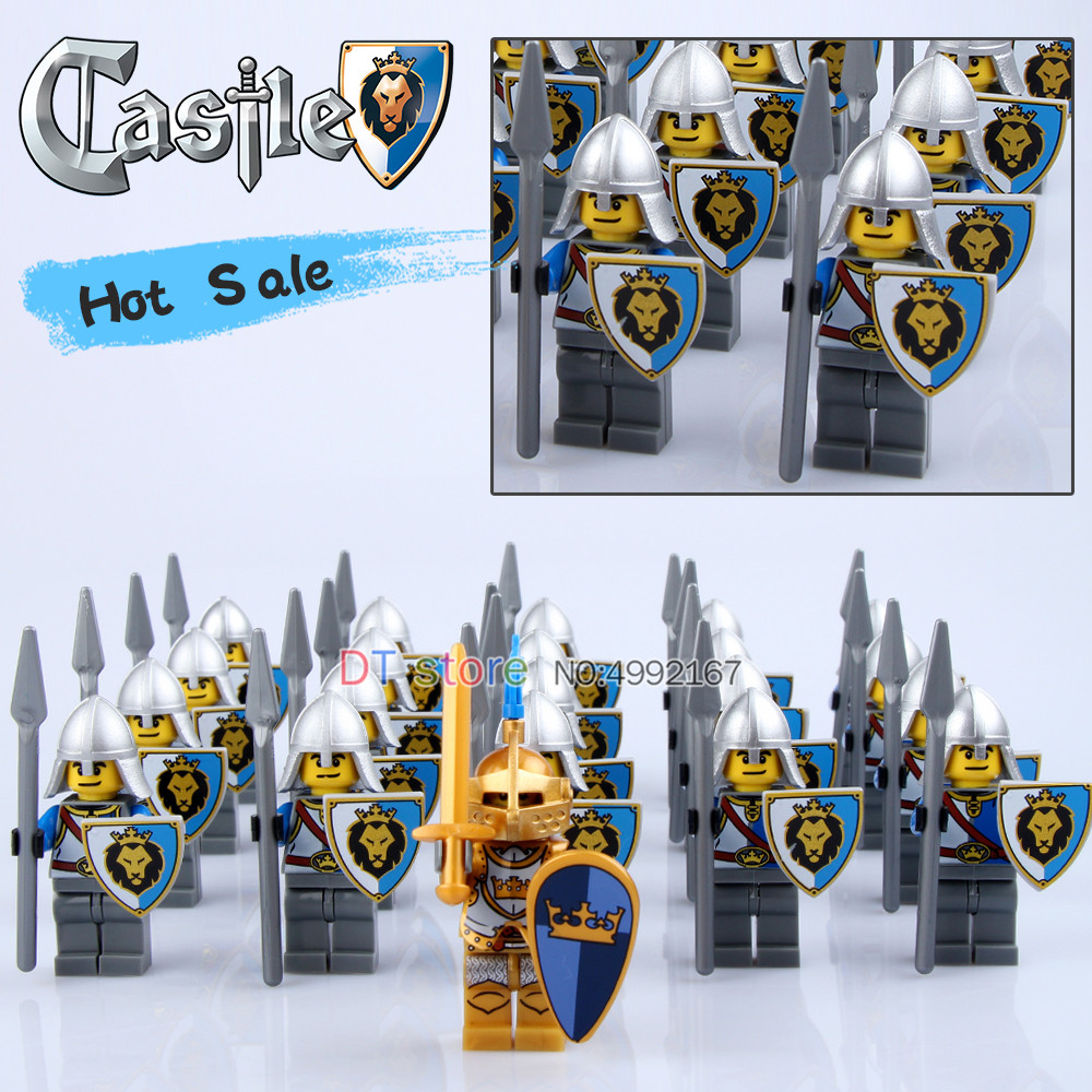 21Pcs/Lot Legoing Medieval Castle Army Blue Lion Knight with weapons Building blocks Toys For Children gifts 980121Pcs/Lot Legoing Medieval Castle Army Blue Lion Knight with weapons Building blocks Toys For Children gifts 9801