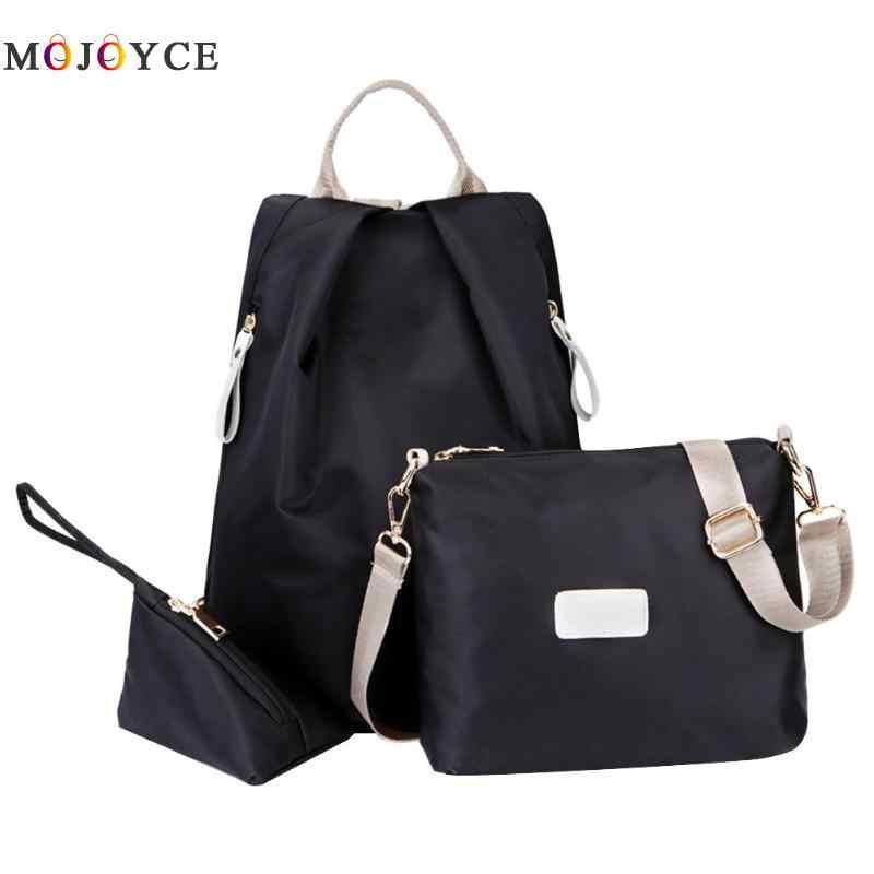 1e6d72bbbe5b 3pcs set Solid Color Casual Nylon Women Backpack Teenager Girls Travel  Backpack Mochila Feminina