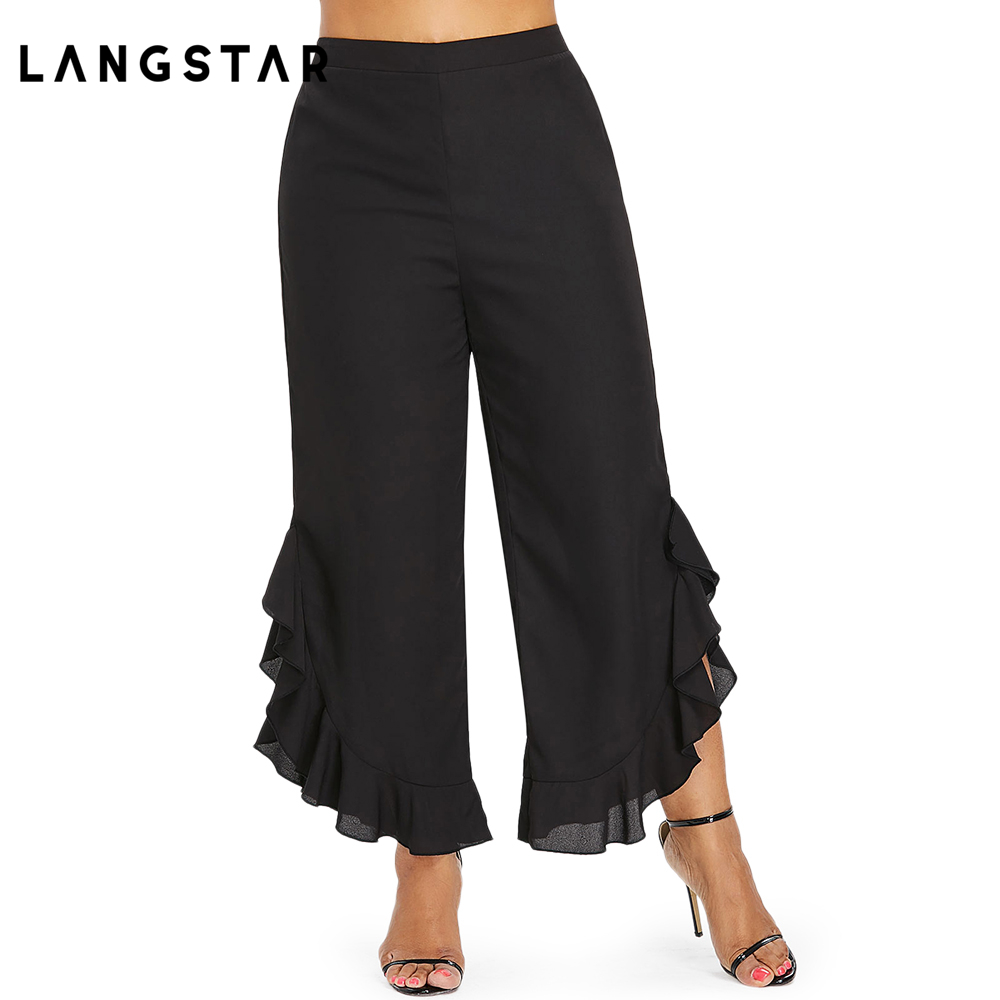 29d2389e918 Fashion Plus Size High Waist Ruffle Wide Leg Capri Pants Women 5XL Black  Flare Trousers Female Large Size Ladies Pants XXXXL XXL