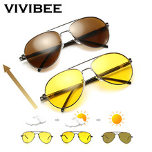 VIVIBEE Men Photochromic Night Vision Polarizing Sun Glasses Pilot Style Aluminum Women Polarized Driving Sunglasses Yellow