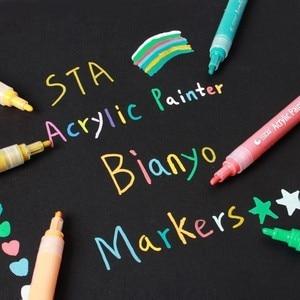 Image 3 - 12 24 צבעים/סט STA אקריליק צבע קבוע מרקר עט עבור קרמיקה רוק זכוכית פורצלן ספל עץ בד בד ציור