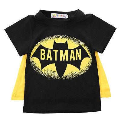 Baby Kids Boys Cartoons Cosplay Batman Cape T-Shirts Cotton Short sleeve Tops