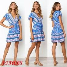 Women Summer Dress Boho Short Beach Sundress Cocktail Party Sling Hot 2019 New Arrival